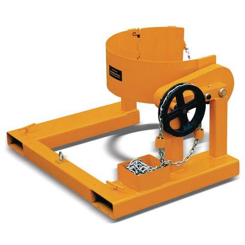 Fork mounted drum tilting unit