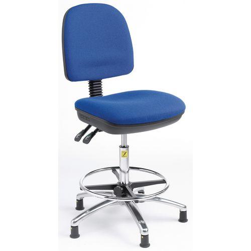 Ergonomic anti-static chair - High chair (height - 500-690mm) -blue fabric
