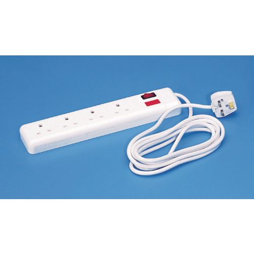 Heavy duty switched four line 5 metre trailing socket