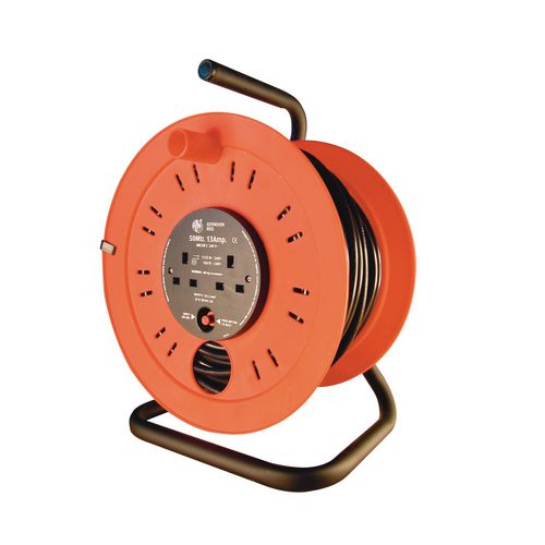 Industrial 240V extension cable reels, 50 metres long with 4 outlets