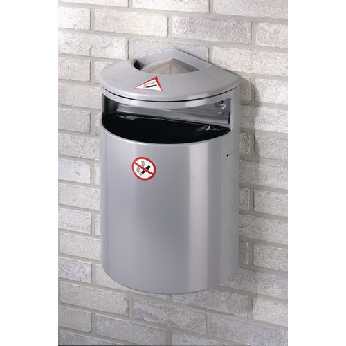 Combined litter bin and wall ashtray
