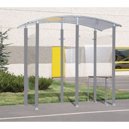 Steel frame smoking/vaping shelter and perch seat