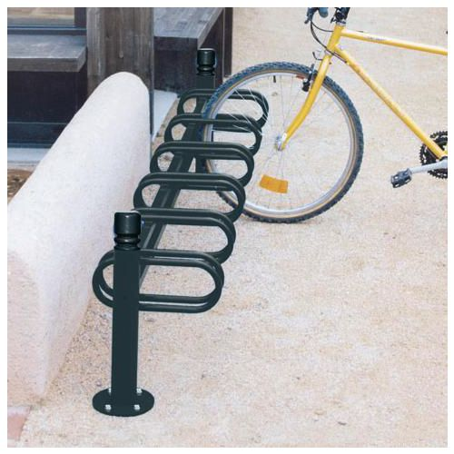 Post mounted modular cycle stand - black - single sided - 6 bike capacity