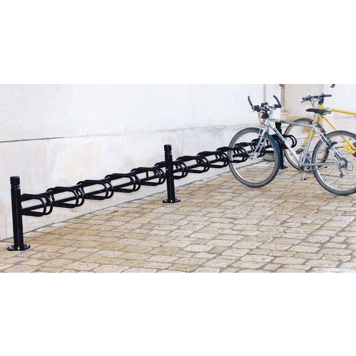 Extension module for Post mounted modular cycle stand - black - single sided - 6 bike capacity