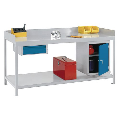 Complete fully welded workbench with lipped steel worktop