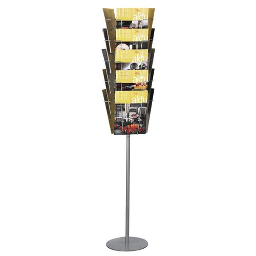 Static literature display floor stand - 15 x A4 pockets