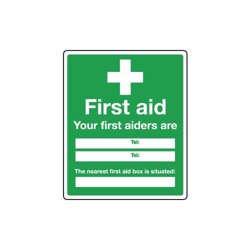 Safe condition and first aid signs - Your first aiders are and the nearest box is