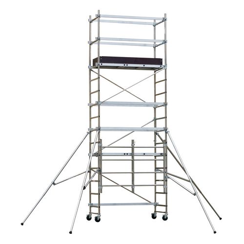 Folding mobile work platform and tower - Standard platform with additional kit, inc. toe boards to give platform height 3500mm