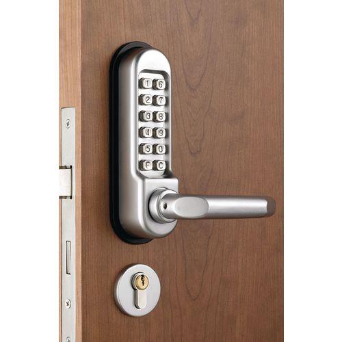 Heavy duty mechanical push button digital door lock with lever handle