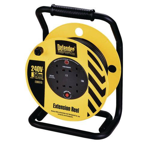 Defender 240V Industrial trade cable reels, 50 metres long with 4 outlets