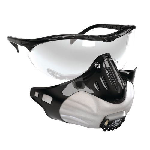 Respiratory Protection FILTERSPEC SAFETY GLASSES WITH BUILT-IN MASK BLACK WITH CLEAR LENS BOXED