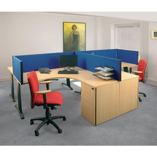 Straight Tops BusyScreen® classic clamp on desk partition screens - Standard desk screens - blue
