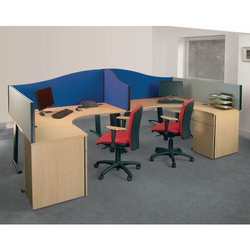 Curved Tops BusyScreen® classic clamp on desk partition screens - Wave desktop screens - blue