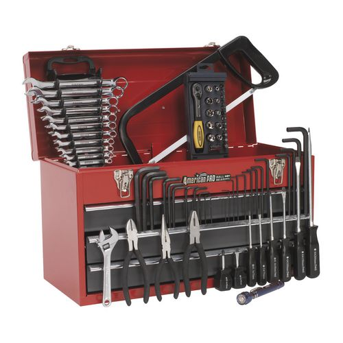 Tool Boxes PORTABLE TOPCHEST 3 DRAWER - BALL BEARING RUNNERS - RED WITH 74PC TOOL KIT