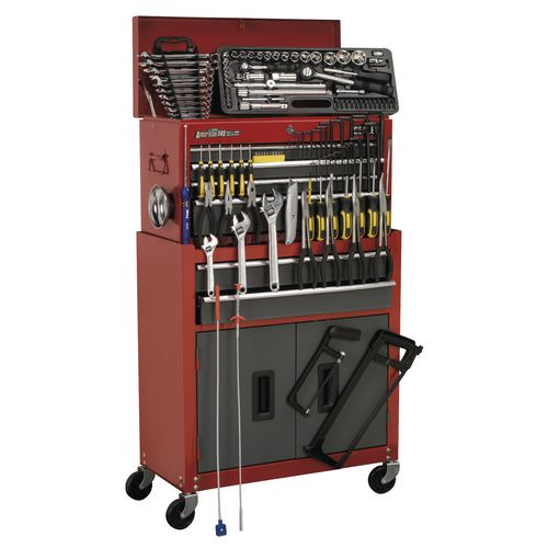 Tool Boxes TOOL CHEST COMBINATION 6 DRAWER - BALL BEARING RUNNERS - RED/GREY WITH 128P