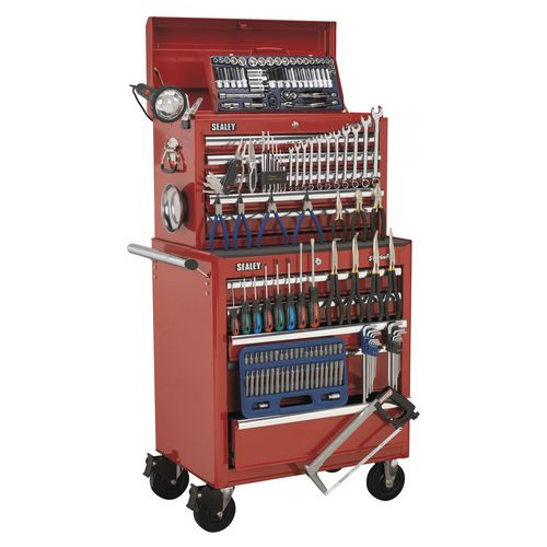 Tool Boxes TOOL CHEST COMBINATION 10 DRAWER - BALL BEARING RUNNERS - RED WITH 146PC TOO