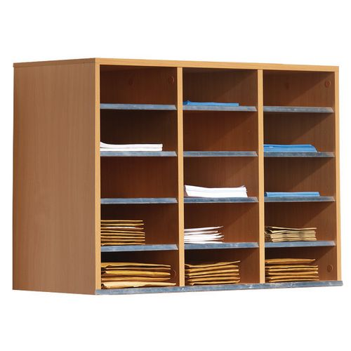 Post Boxes WALL MOUNTED MAIL SORTING  UNIT, 15 COMPARTMENTS, BEECH