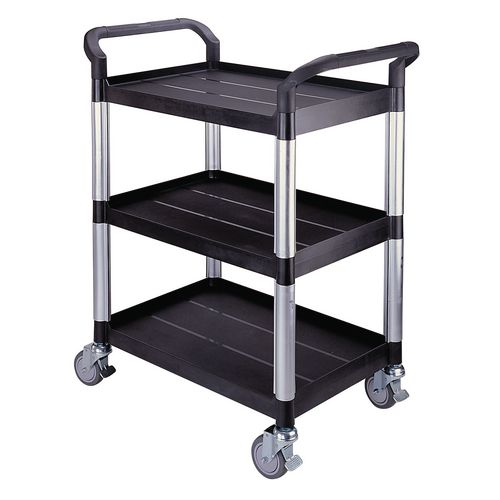 Filing Three tier plastic utility tray trolleys with open sides and ends with 3 standard black shelves