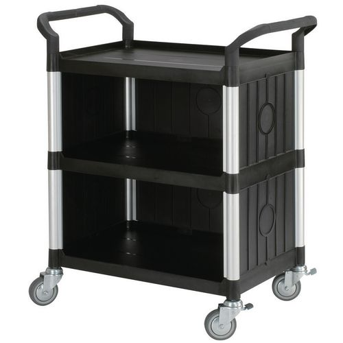 Filing Three tier plastic utility tray trolleys with open sides and ends with 3 standard black shelves, back & side panels