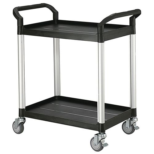 Filing Two tier plastic utility tray trolleys with open sides and ends with 2 standard size shelves