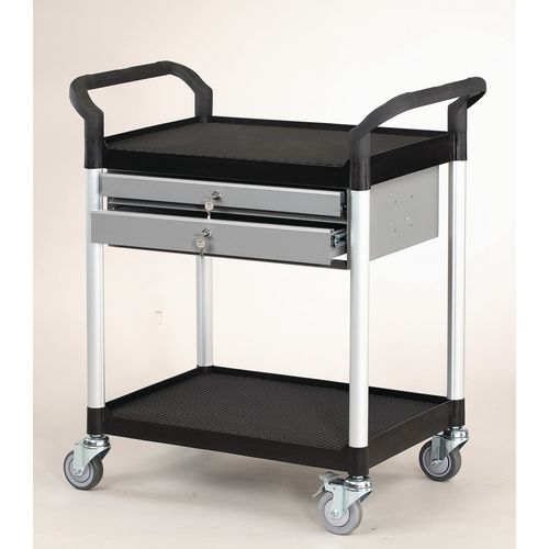 Filing Plastic shelf tray trolleys with drawers - with 3 shelves and 1 drawer