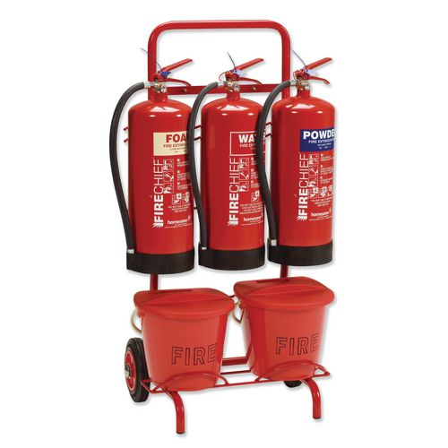 Filing Fire point trolleys 3 x extinguisher and 2 x bucket