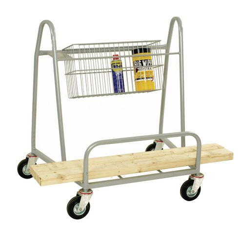 Nesting board trolley with basket