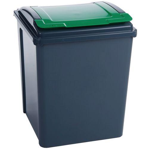 50 Litre Recycle Bin With Green Lift Lid - Indoor