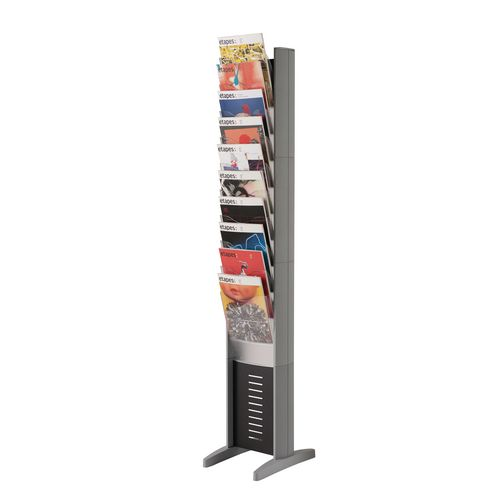 Certificate / Photo Frames Silver free-standing display tower - single sided - 10 x A4 pockets
