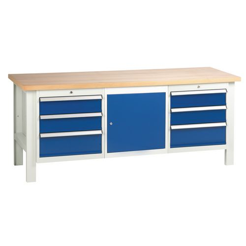 Medium duty workbenches - Workbench with 2 triple drawer units and 1 cupboard L x D - 2000 x 650mm