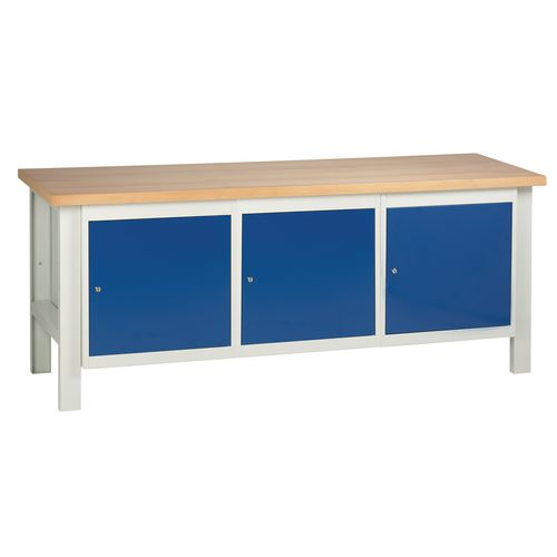 Medium duty workbenches - Workbench with 3 cupboards L x D - 2000 x 650mm