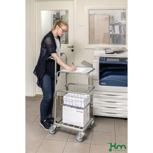 Filing Konga mini mail distribution trolleys with 1 shelf and 1 basket
