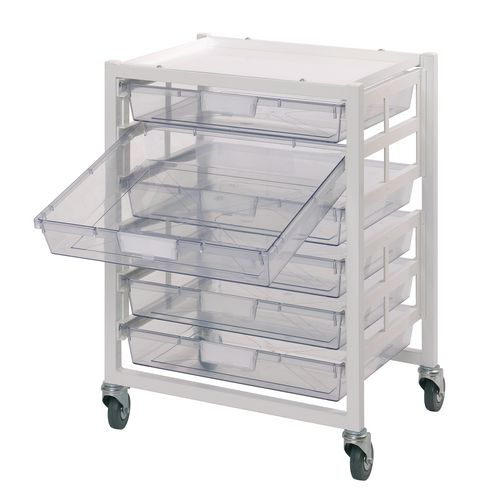 Small Parts Storage Premium white racks with transparent trays - Mobile A3 racks