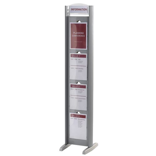Double-sided poster frame tower - 8 x A4 panels and top bar