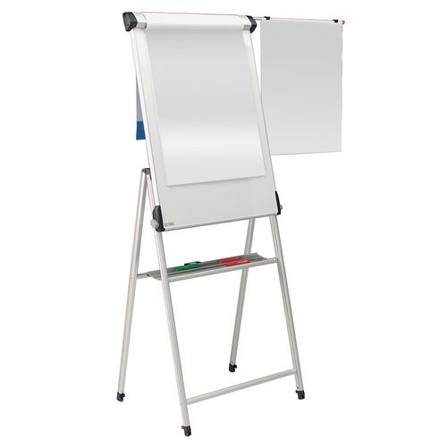 Mobile conference pro whiteboard and flipchart easel with sidearm