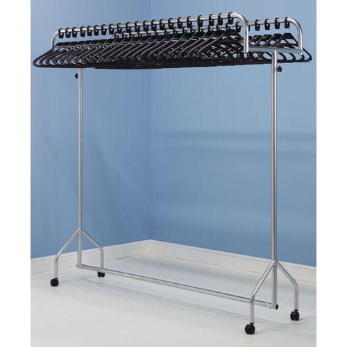 Twin top garment rails - silver rail with 60 black  hangers
