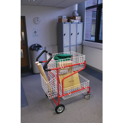 Large mailroom trolley with sliding basket