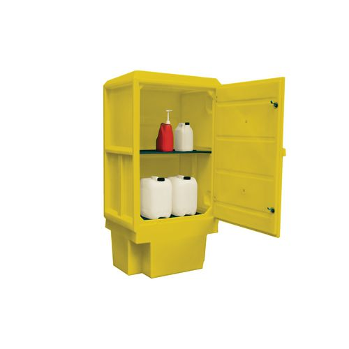 Large plastic hazardous storage cabinets - 225 Litre sump capacity for drum or cans