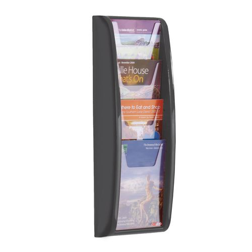 Panorama Wall Mounted Leaflet Dispenser - 4 X A5 - Black