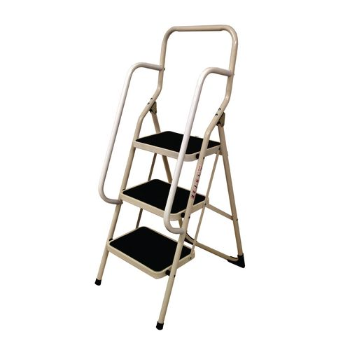 White Folding Step Stool With Handrail Step Stools