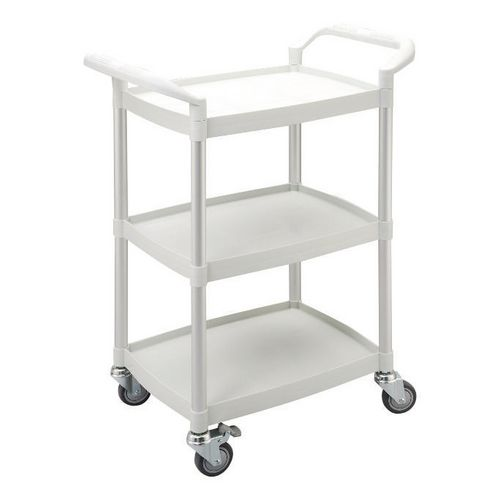 Three tier plastic utility tray trolleys with open sides and ends with 3 mini white shelves