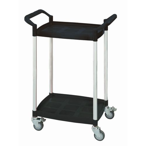 Two tier plastic utility tray trolleys with open sides and ends with 2 black mini size shelves