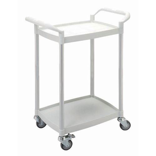 Two tier plastic utility tray trolleys with open sides and ends with 2 white mini size shelves