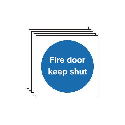 Fire door keep shut sign - Pack of 5