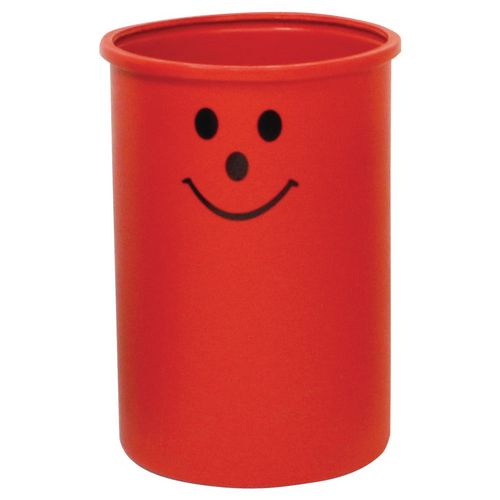 Lunar open top litter bin with smiley face logo - Red
