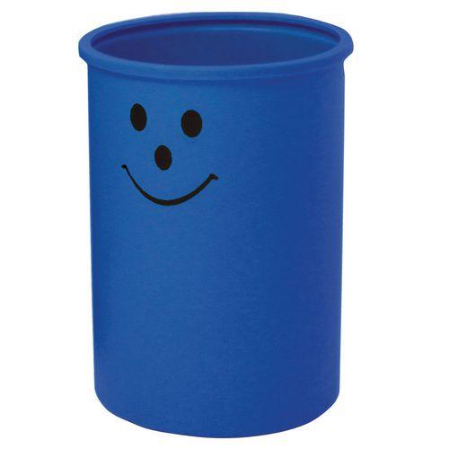 Lunar open top litter bin with smiley face logo - Light blue