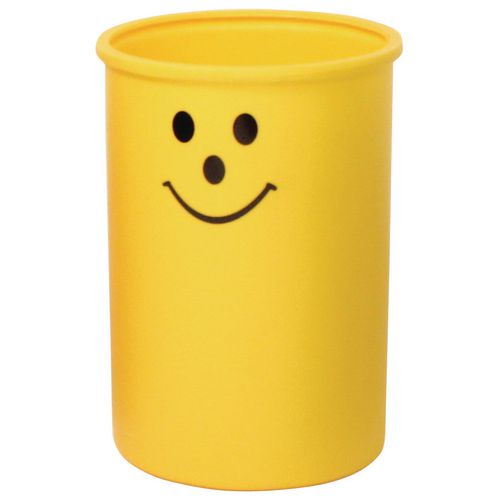 Lunar open top litter bin with smiley face logo - Yellow