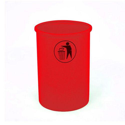 Lunar open top litter bin with tidy man logo - Red
