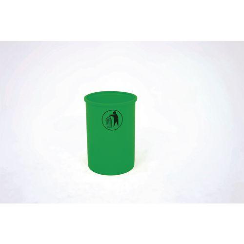 Lunar open top litter bin with tidy man logo - Green