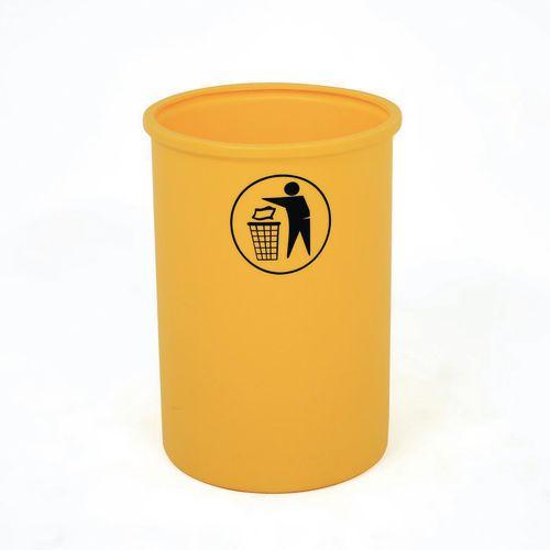 Lunar open top litter bin with tidy man logo - Yellow